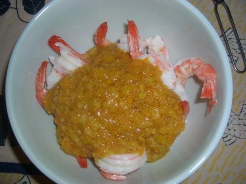 a chermoula vai se misturar com o camarão cozido